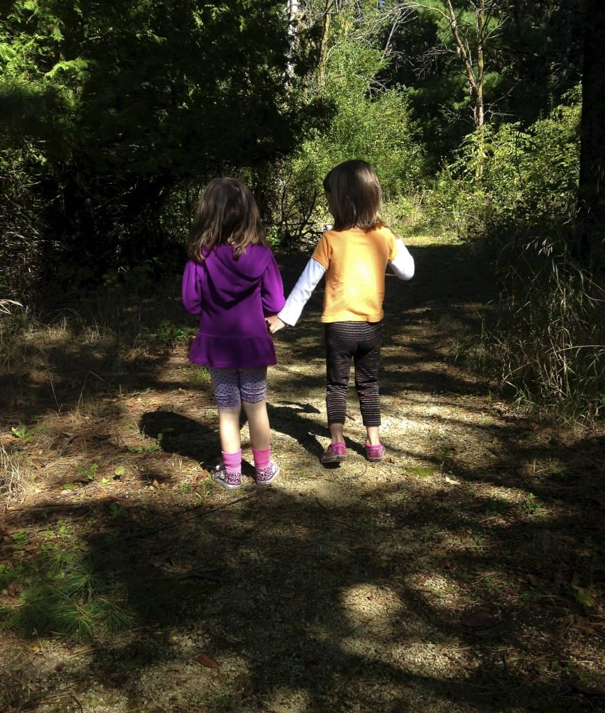 Little girls on a nature walk