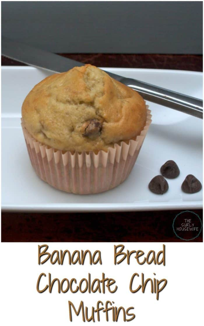 Banana Bread Chocolate Chip Muffins, an easy banana bread recipe. Banana bread muffins make an easy snack and a fast breakfast.