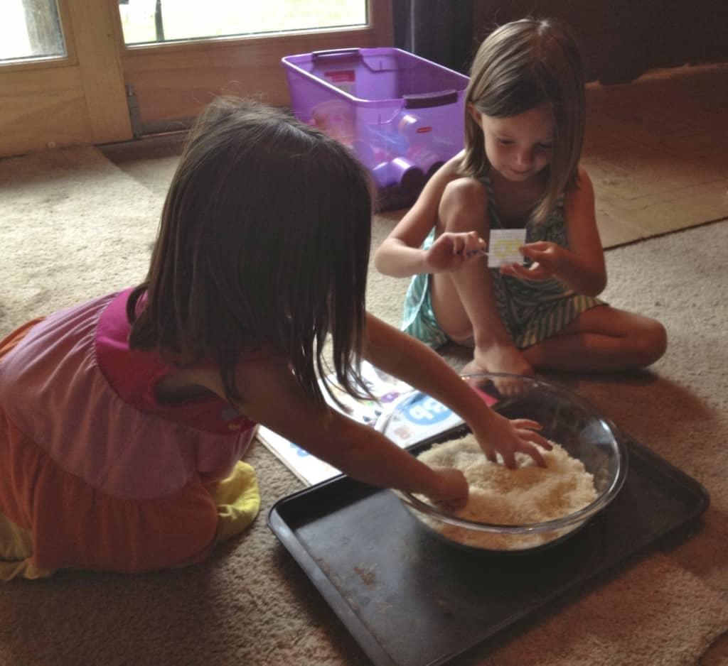 Letter B rice sensory play