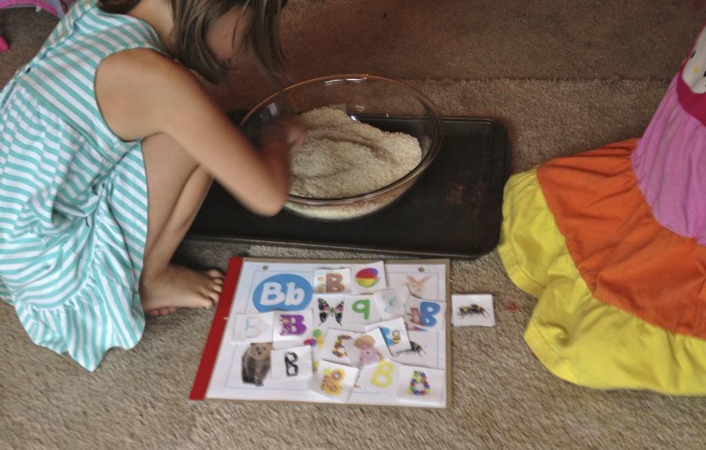 Letter B sensory play