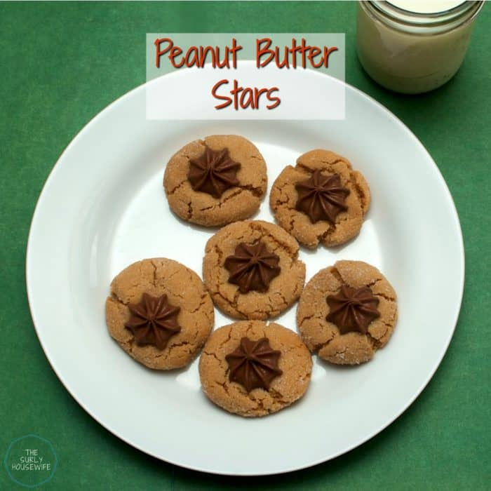 Peanut butter star cookies on a white plate. Title image for blog post: the best peanut butter star cookies