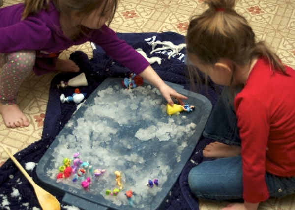 ice sensory play with toys