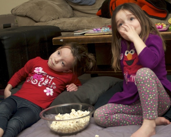 sisters watching a movie