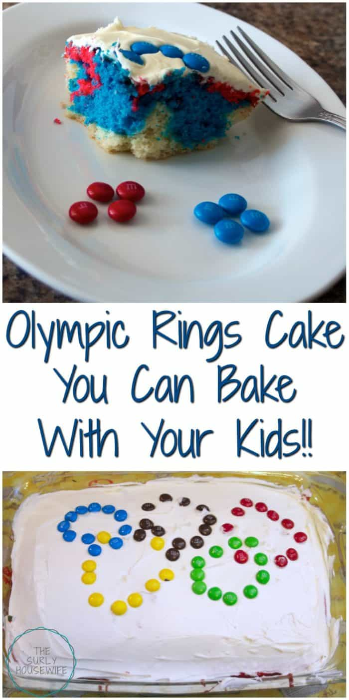 The Olympics come around once every four years. Make the most of it by having an Olympic party with your kids. Be sure to include this easy Olympic rings cake! It's the perfect indoor activity to enjoy while watching the opening ceremony. Winter or summer olympics, this is an easy and fun family activity. #Pyeongchang #WinterOlympics #Pyeongchang2018 #TeamUSA