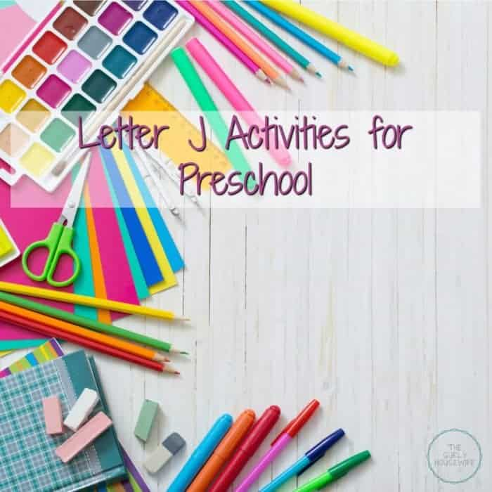 Letter J Activities for Preschool title image with art supplies