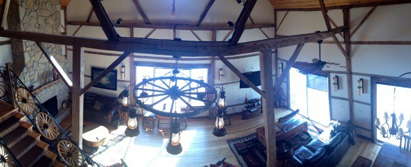 view of the living room at Big Valley Ranch from the second floor