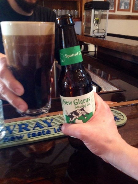 Spotted Cow and a pint glass