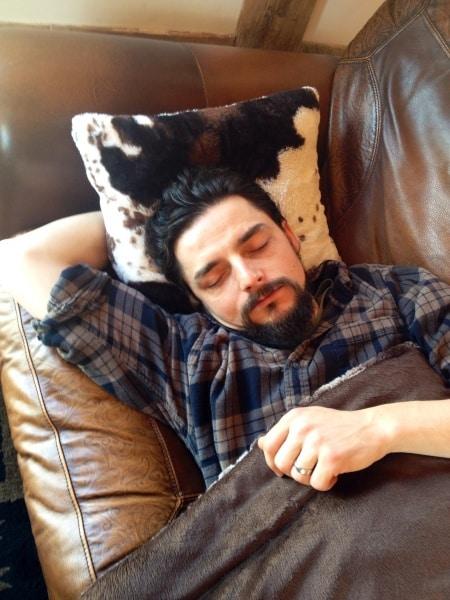 Man napping at BVR barnhouse