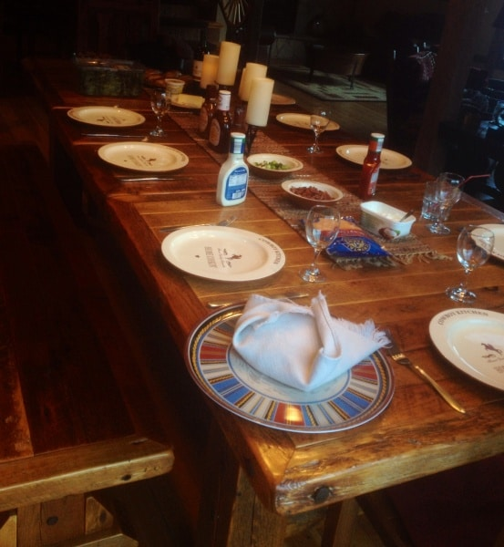 Dinner table at the Big Valley Ranch Barnhouse