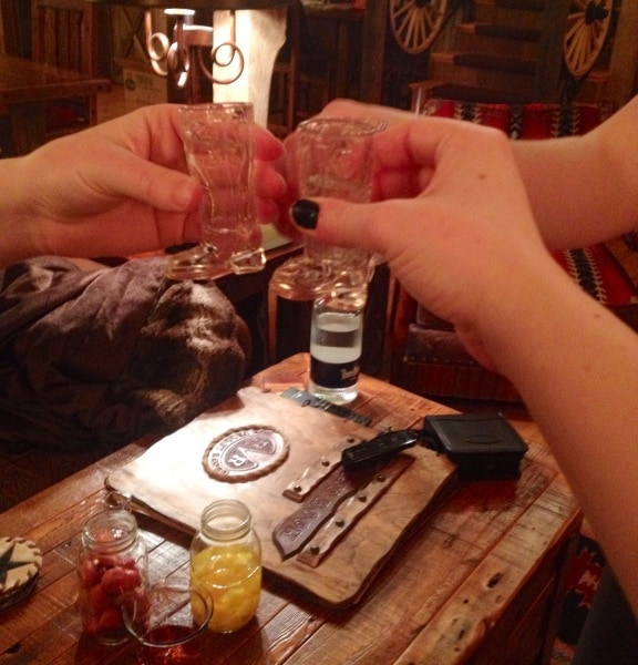 Vodka shots in cowboy boot shot glasses!