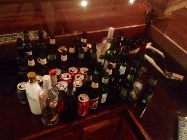 bar of empties at BVR