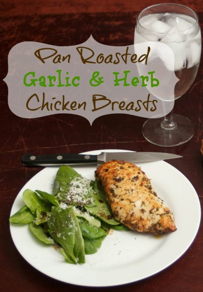 Pan Roasted Chicken marinated in garlic and herbs. This healthy and easy chicken recipe is perfect for a weeknight meal. It uses boneless chicken which means it will be ready in 30 minutes and it is gluten-free! #ChickenRecipe #HealthyRecipe #GlutenFreeRecipes #EasyDinnerRecipe #DinnerRecipes