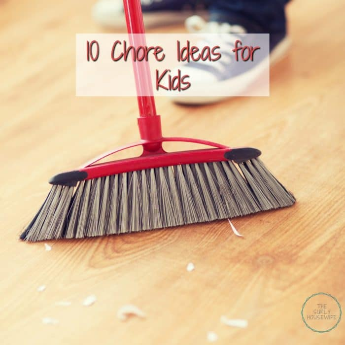 Want your kids to help around the house? Click on this post for 10 chore ideas for kids. They are so easy any kid can do them!