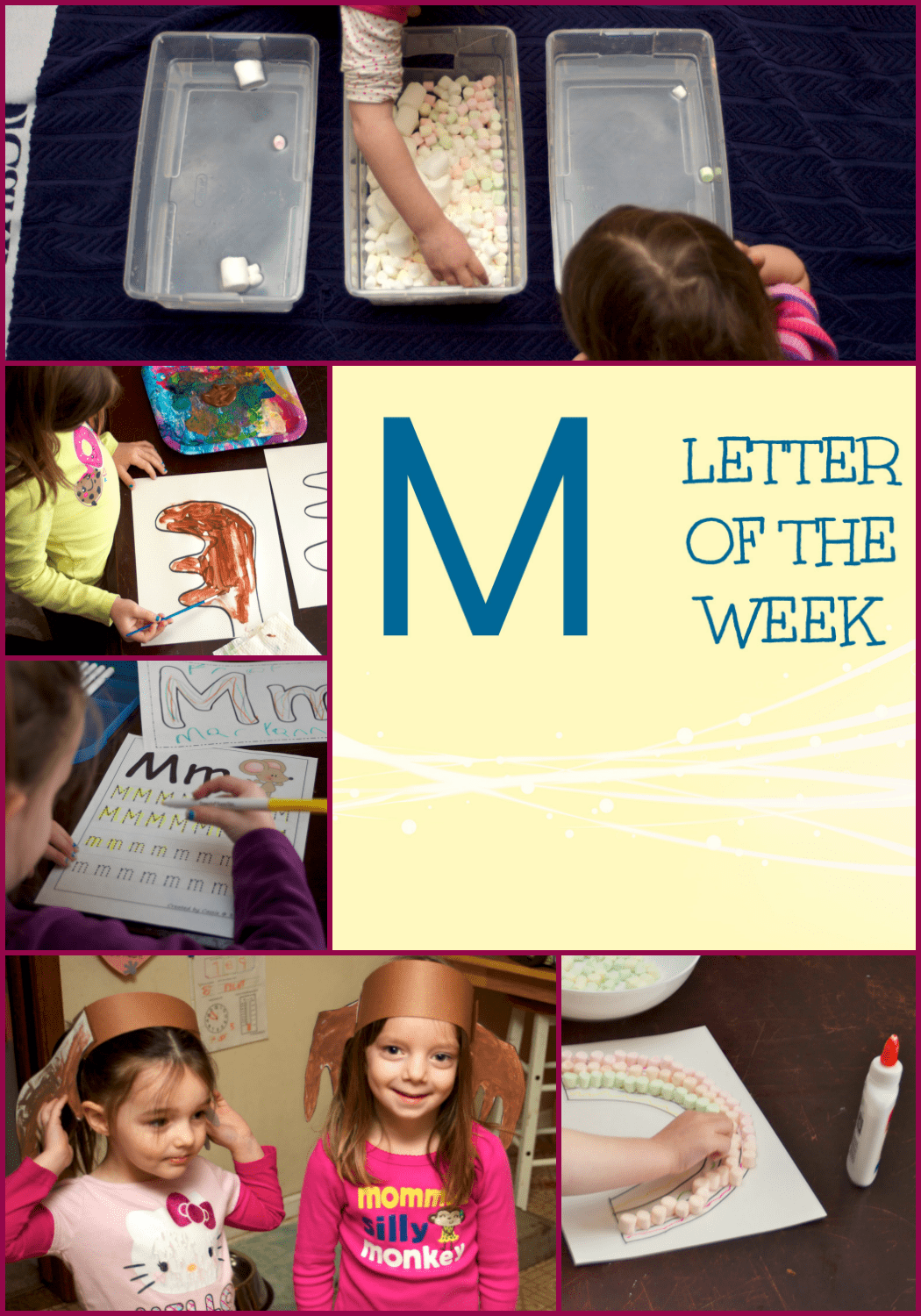 Looking for Letter M Activities for Preschool? Click here for Letter M activities. They include a craft, marshmallow art, and marshmallow sensory play!
