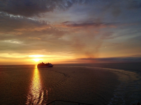 Sunrise off coast of Belize City