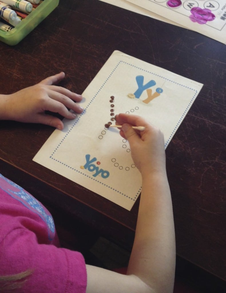 Q-Tip alphabet printables for the letter Y.