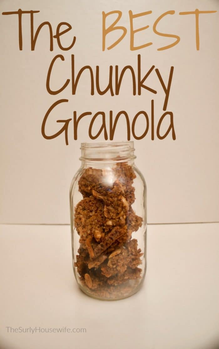 This homemade granola recipe is easy and chunky. Perfect for breaking into granola clusters. Check out this frugal recipe for your granola needs!