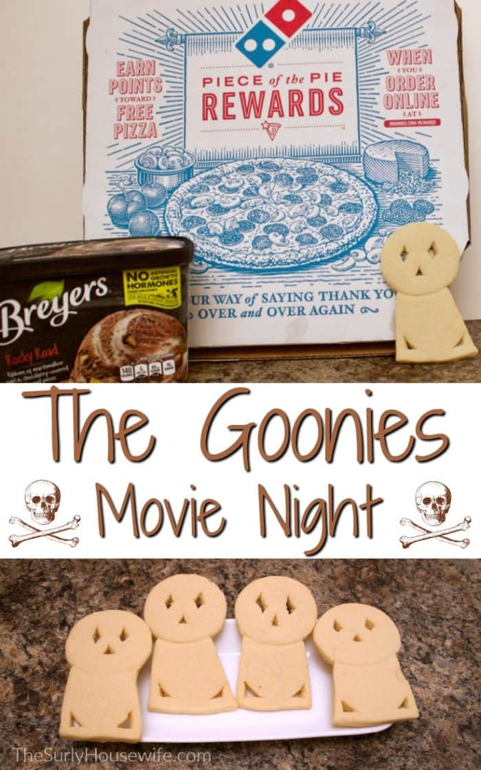 Family movie night is a great time for all. The Goonies is a perfect film for a movie party with your kids or your neighborhood! The Goonies movie night is something your kids will talk about for years to come!!
