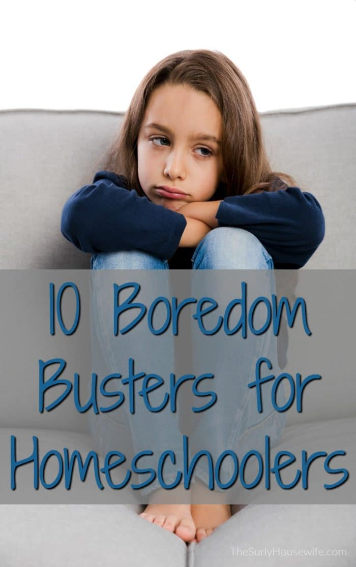 Homeschool moms aren't immune to the statement I'm bored!! We need boredom busters for kids as much as anyone. Check out this post for 10 boredom busters that are simple, fun, creative, and will get your kids back on track!