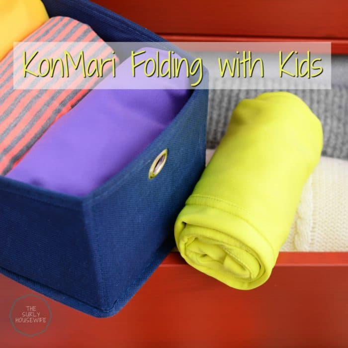 Want your kids help with the laundry? Do your kids take FOREVER to fold their clothes? Try KonMari folding with kids as a solution! Click here for more!