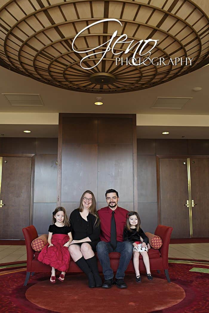 Family pictures taken in lobby of a hotel