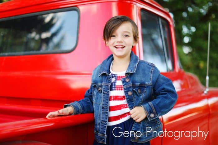 Girl with an American flag dress for family pictures