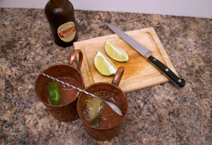Prepared Moscow mule with limes and ginger beer