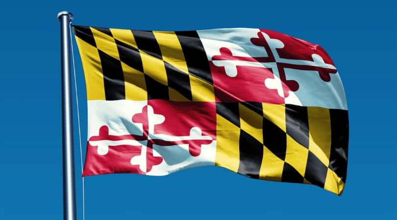 Flag of Maryland waving on a flag pole