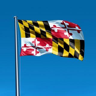 Flag of Maryland waving on flag pole