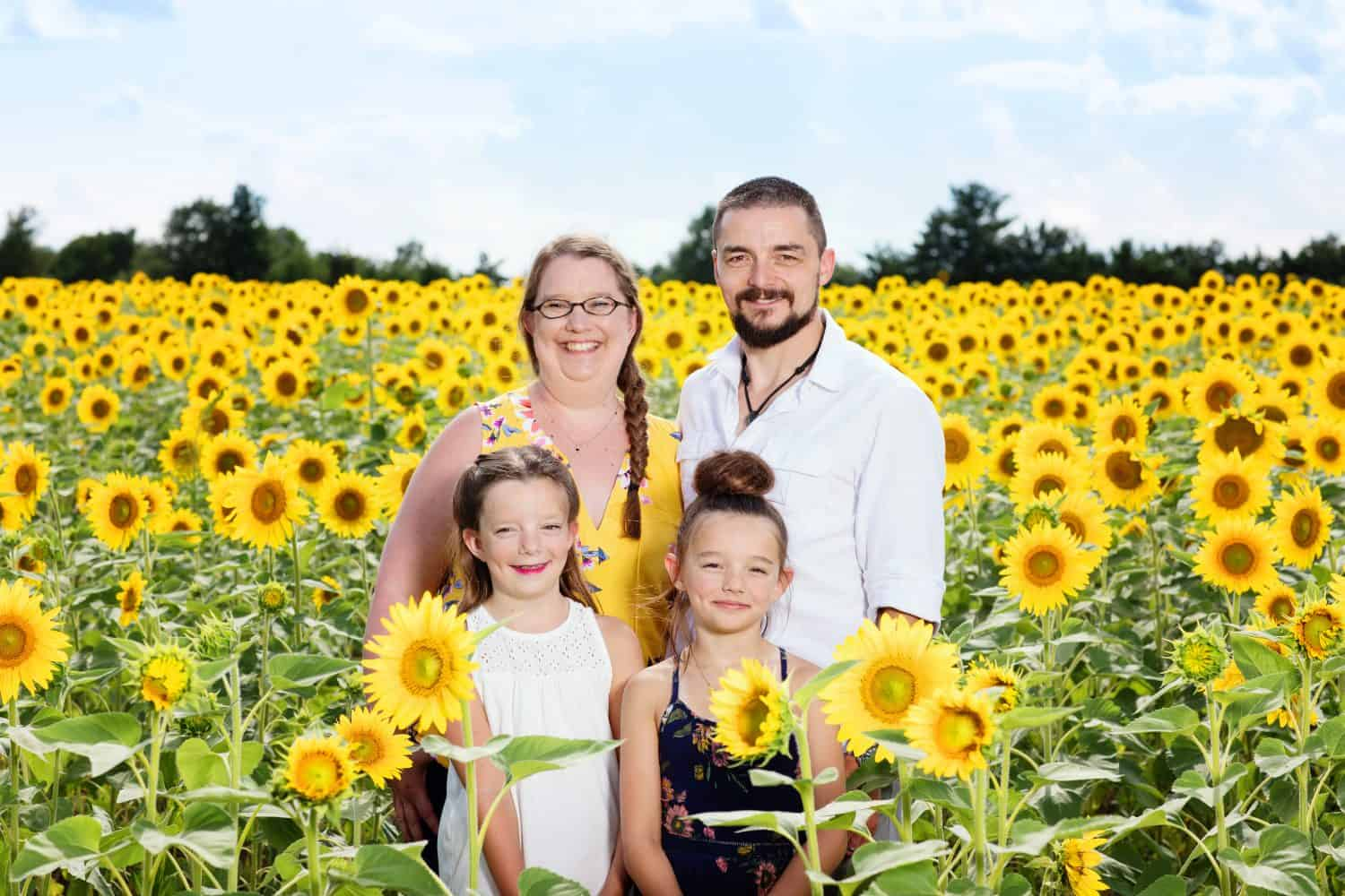 family pictures taken in a sunflower field.