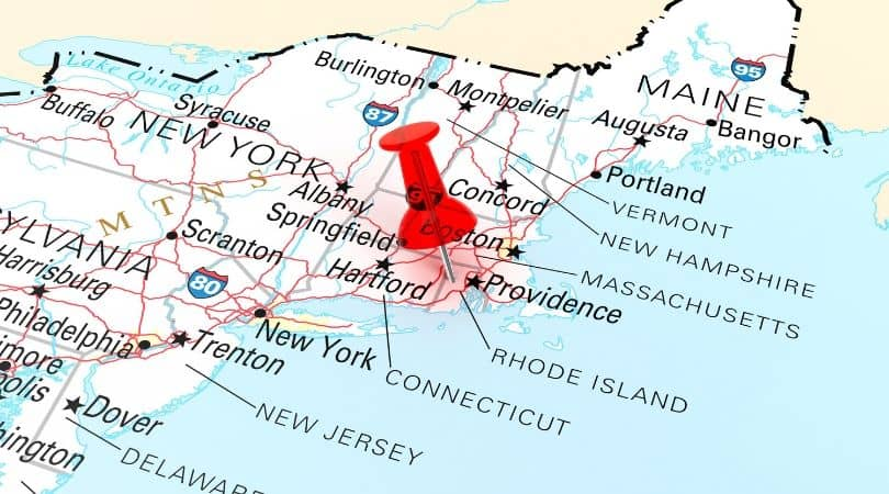 Map of New England. Red pin in Providence, Rhode Island