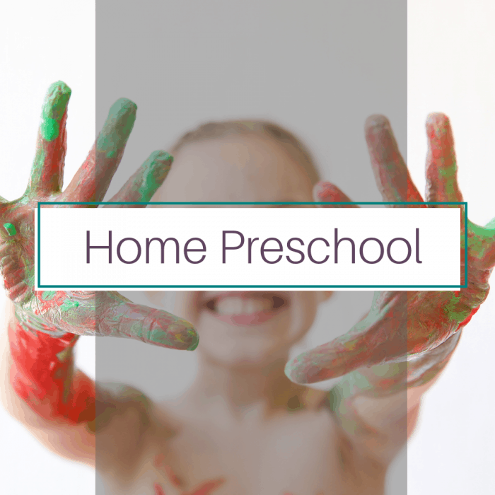 Girl with paint on hands. Title image for home preschool blog posts.