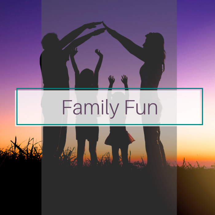Family at sunset. Title image for fun family activity blog posts