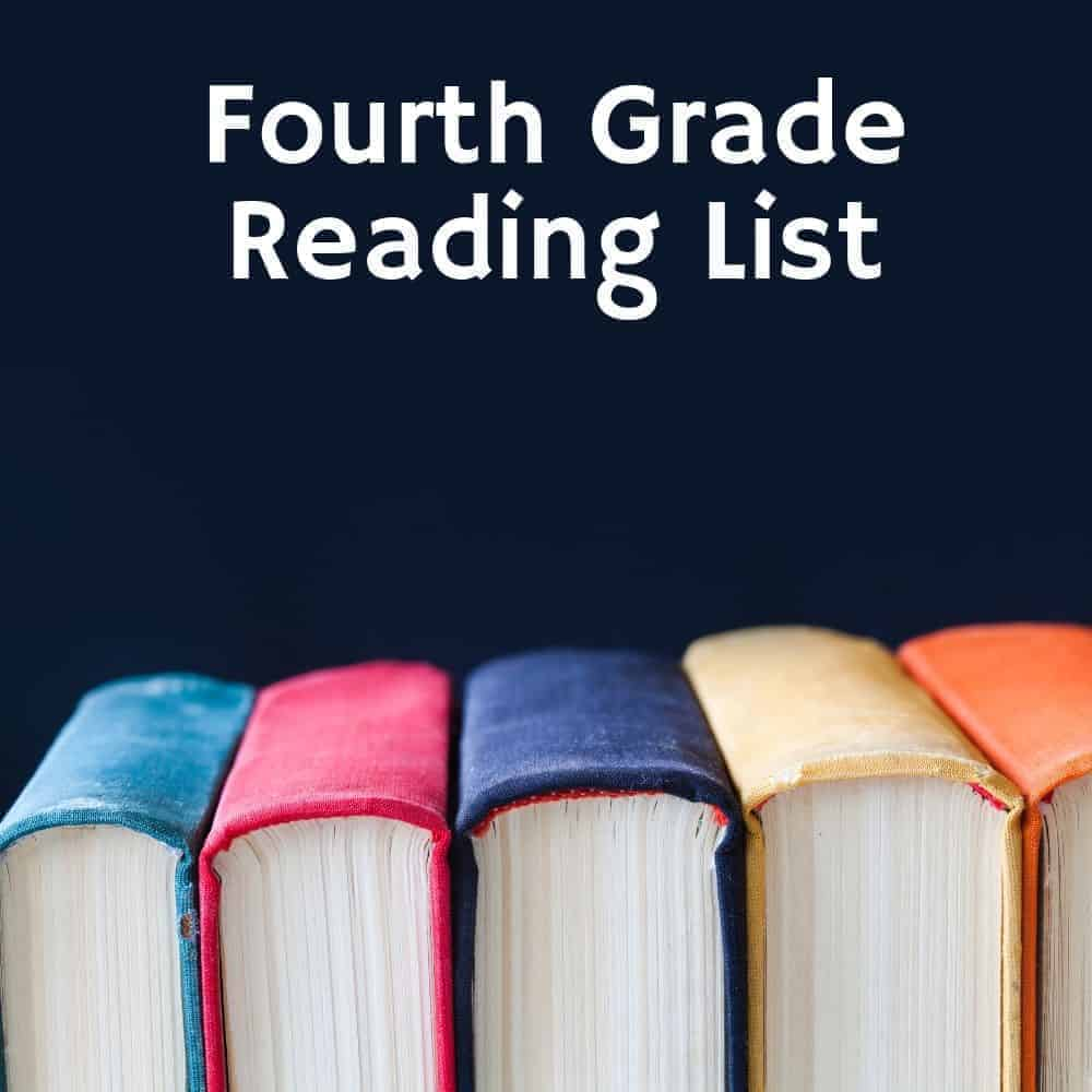 4th Grade reading list title image with books on a black background
