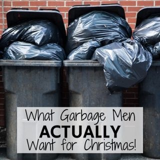 "Garbage cans overflowing with trash bags. Image for blog post: ""What garbage men really want for Christmas."""