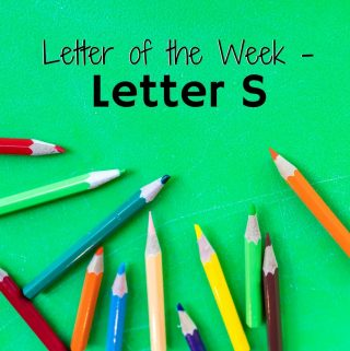 "Colored pencils on a green background. Title image for blog post ""Letter S activities for home preschool."""