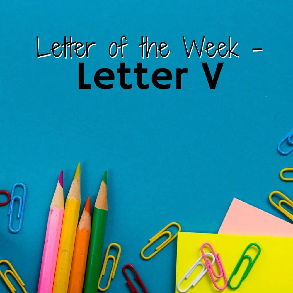 School supplies on a blue background. Title image for Letter V activities for home preschool.