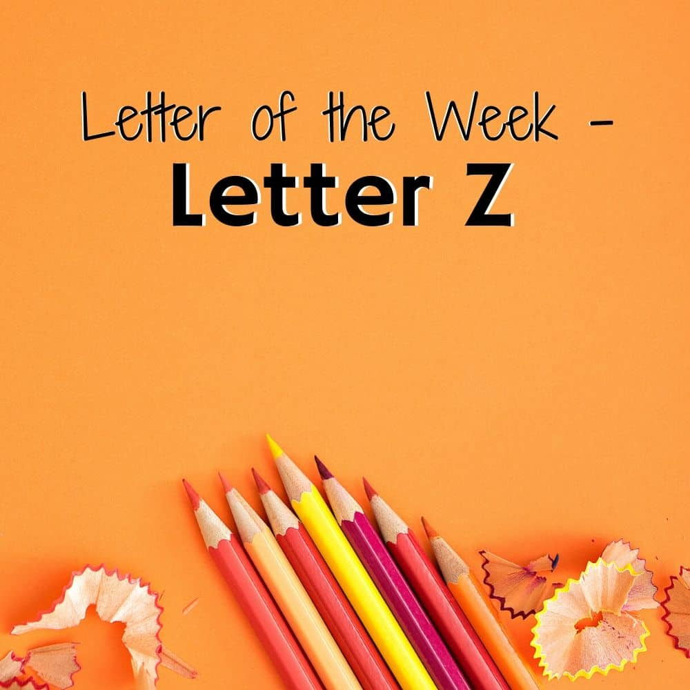 Colored pencils and shavings on an orange background. Title image for blog post Letter Z activities