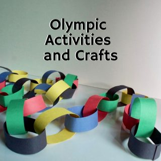 paper chain featuring the Olympic colors on a white table | Title image for blog post 20 Olympic Activities and Crafts