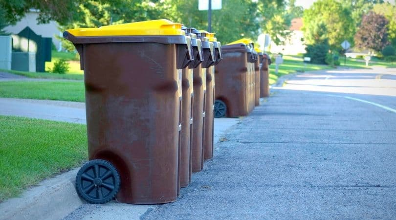garbage toters lined up on a residential street