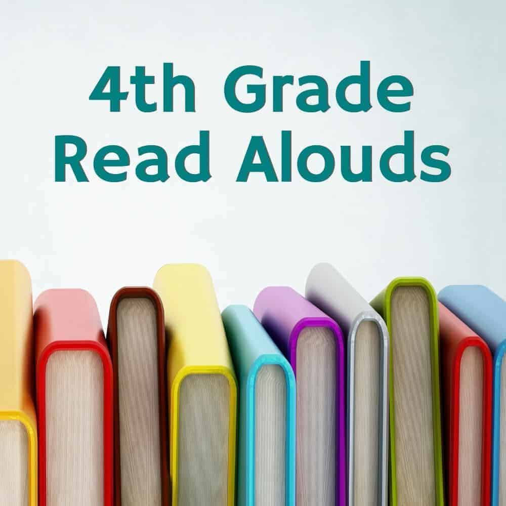 stack of colorful chapter books. Title image for 4th grade read aloud suggestions