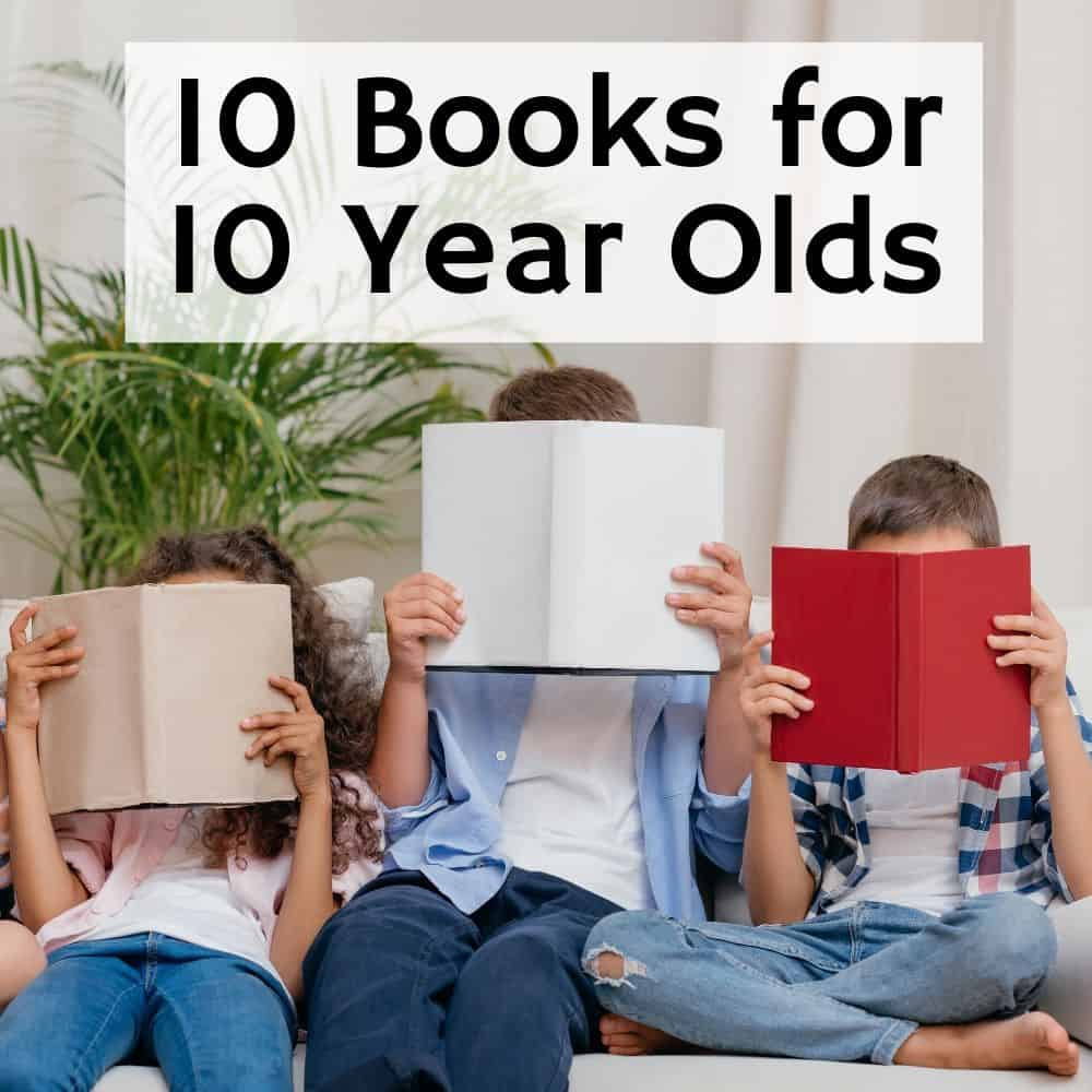 kids reading books that are covering their faces. Title image for blog post 10 books for 10 year olds