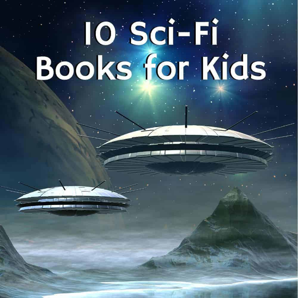 space ships on an alien planet. title image for blog post 10 science fiction books for kids