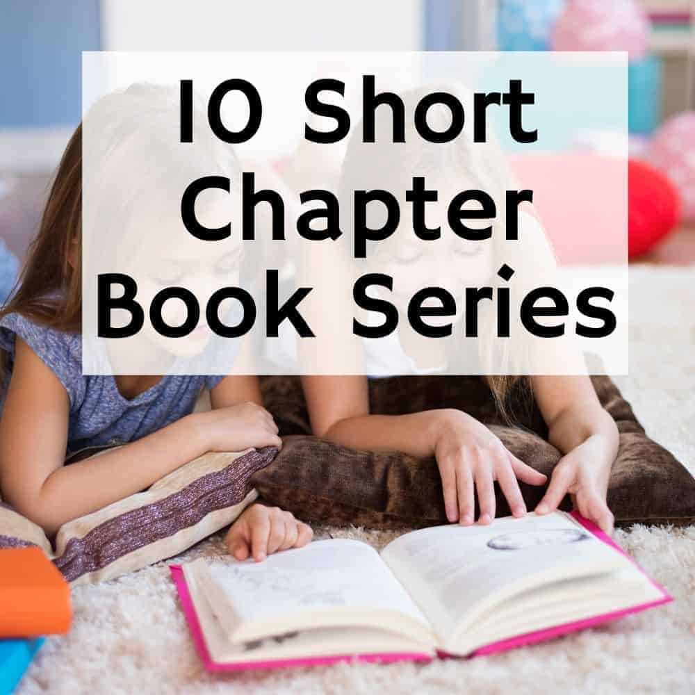 2 girls reading a book on the floor. Title image for blog post 10 easy chapter book series for kids.