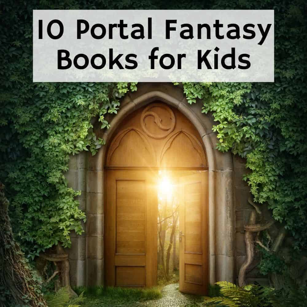 ornate wooden door to another world. Title image for blog post 10 portal fantasy books for kids