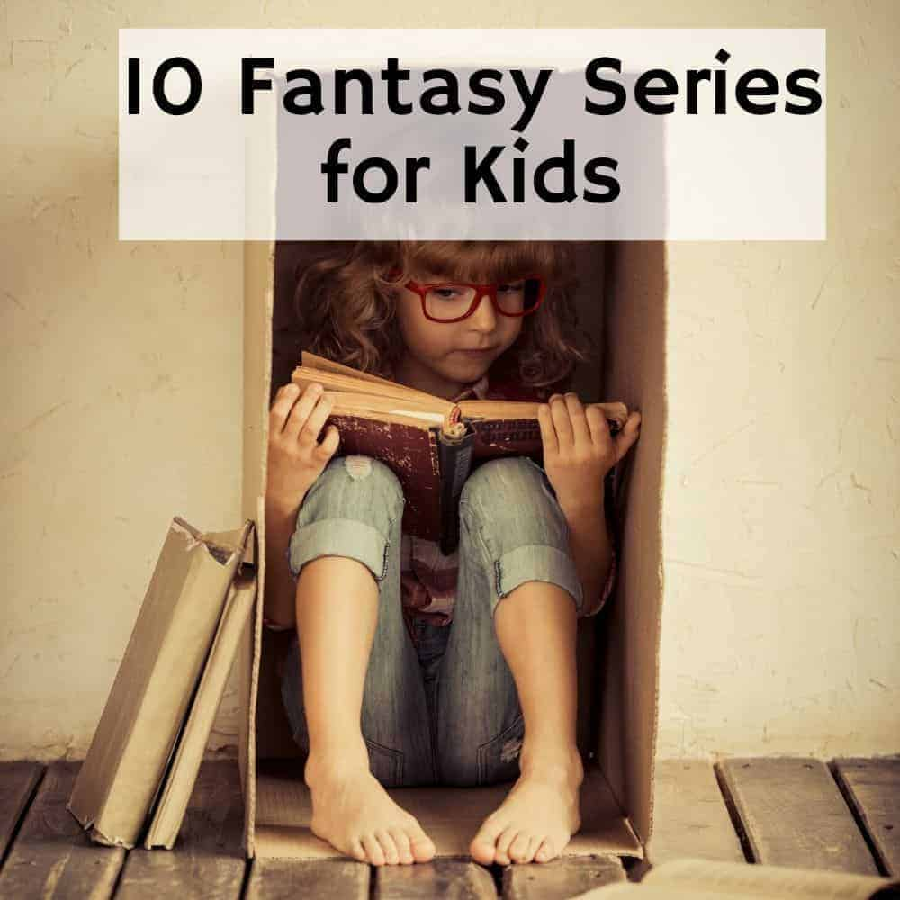 little girl reading a book in a box. Title image for blog post 10 fantasy book series for kids