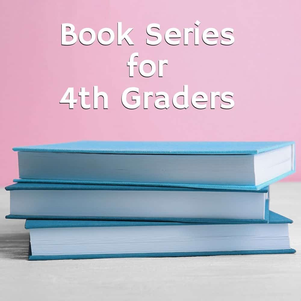 stack of blue books with pink background. Title Image for blog post 4th grade book series