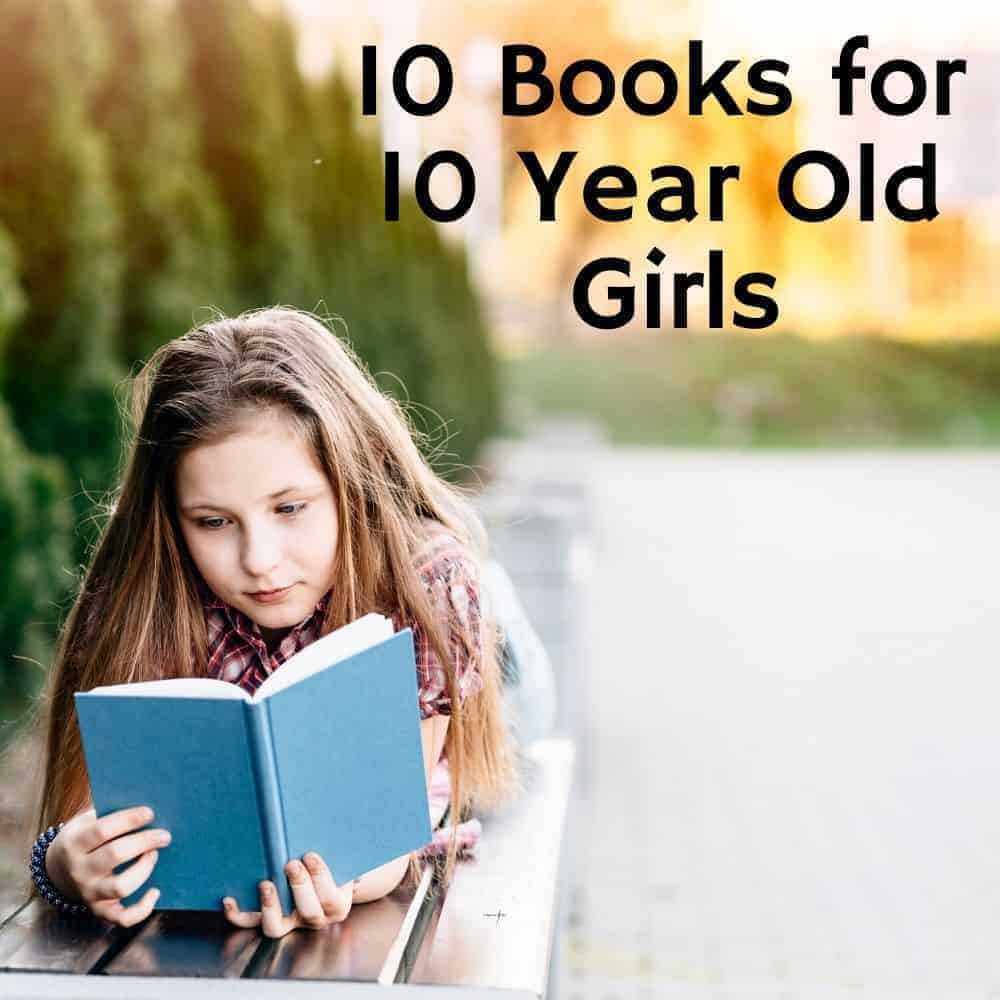 girl reading book on a park bench. Title image for blog post 10 books for 10 year old girls