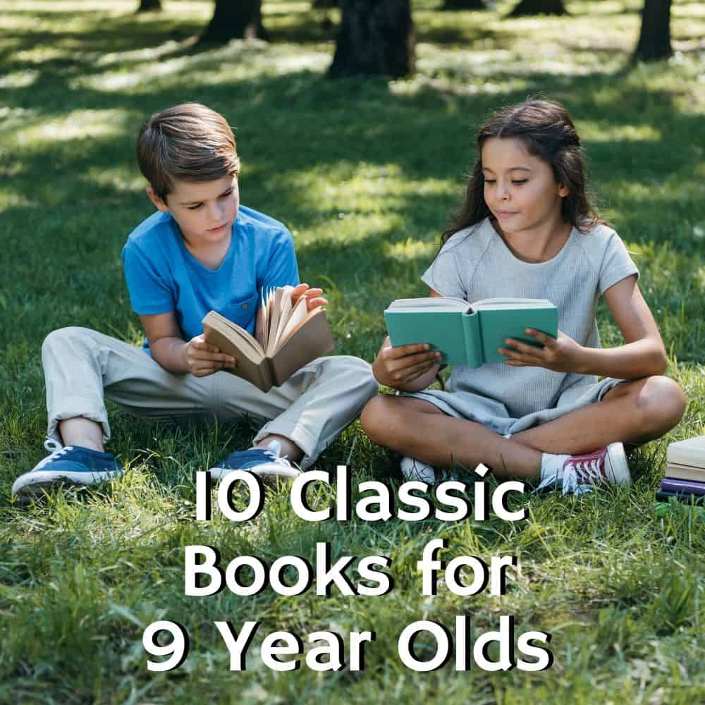 a girl and a boy sitting on the grass reading. Title image of blog post 10 classic books for 9 year olds