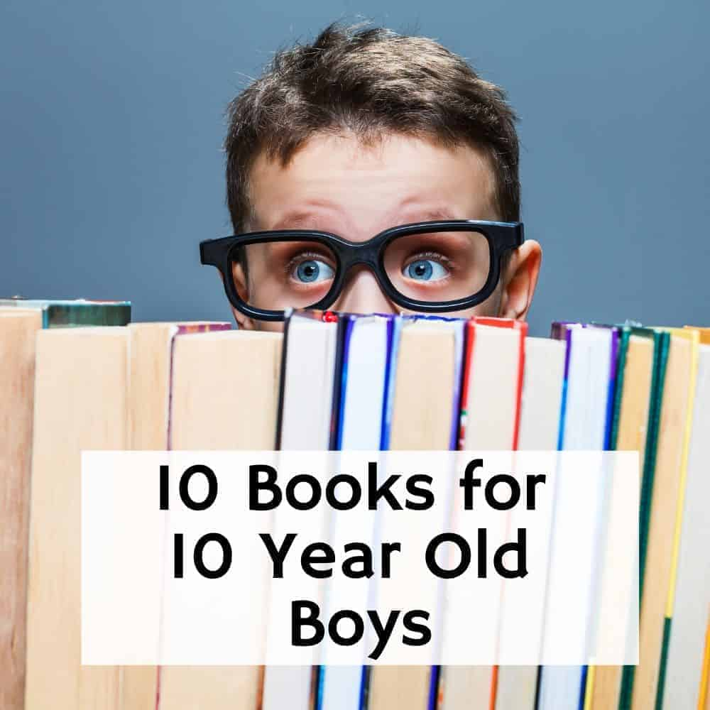 boy with glasses peaking over a stack of books. Title image for blog post 10 books for 10 year old boys